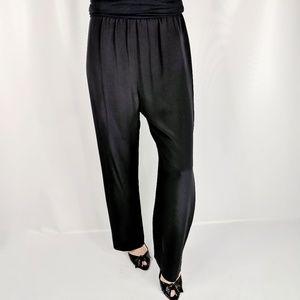 MARK HEISTER 100% silk crepe straight leg pants